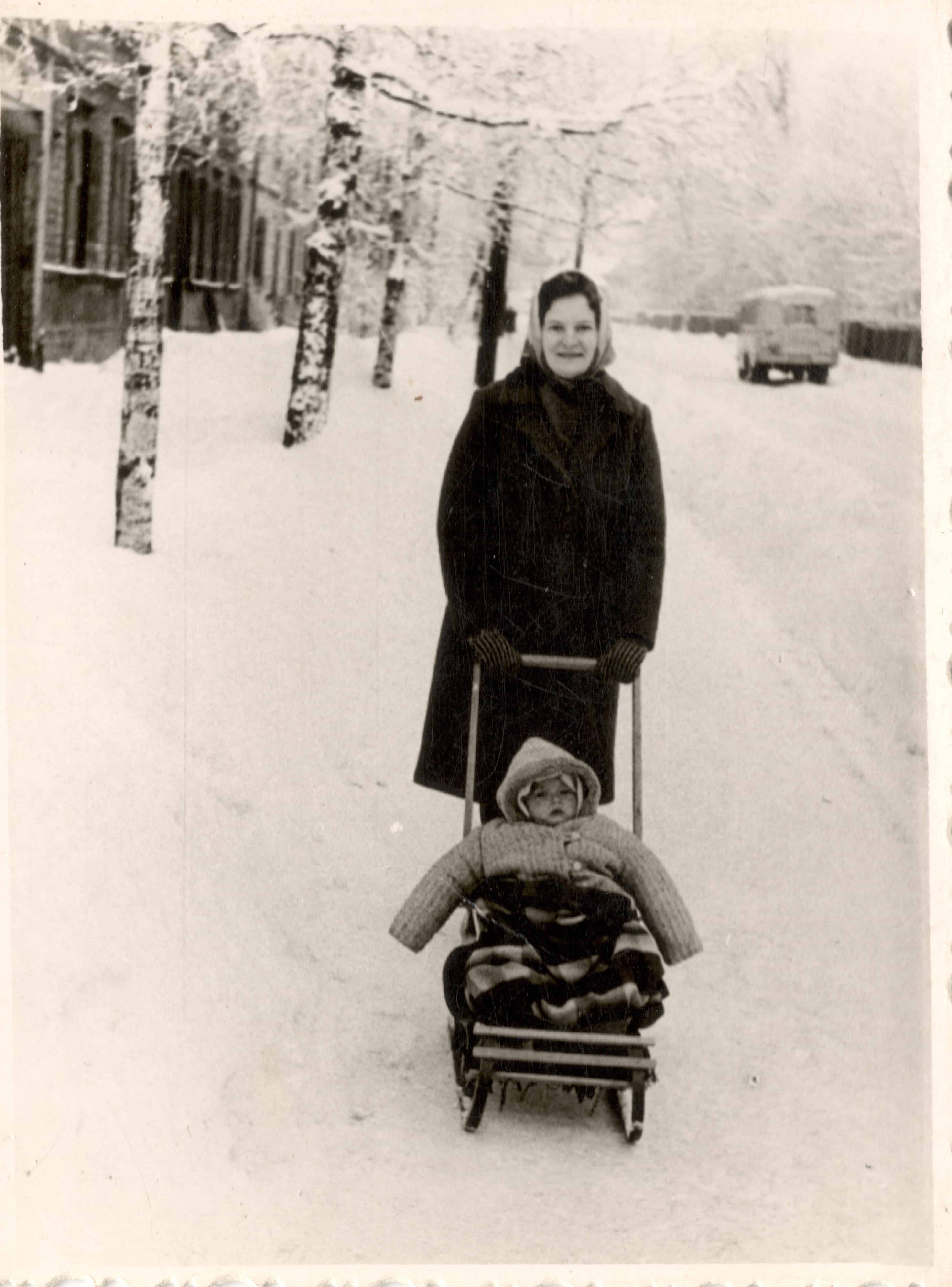 Sandra Martinsone with Mom, Olive Street 1967-1968. in the winter
